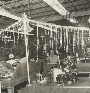 factory decorated for Christmas