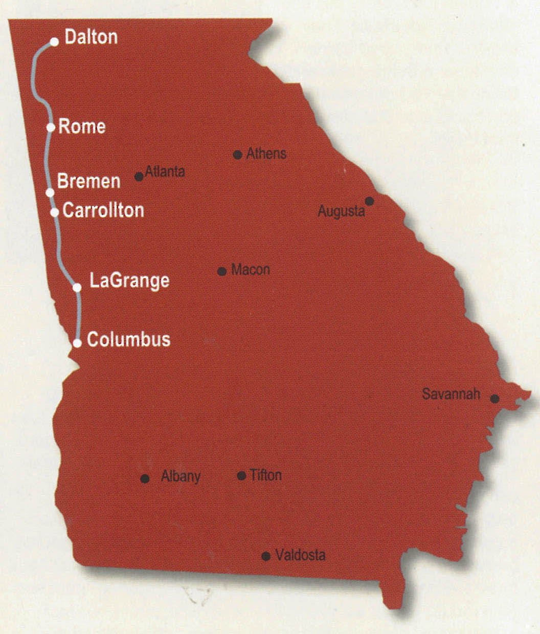 Georgia map showing Trail